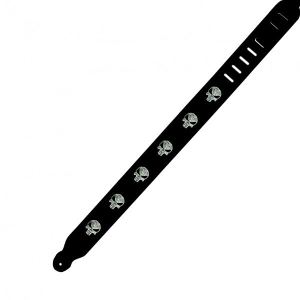 Split Leather Handmade Strap with Skulls Black
