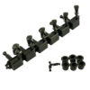 6 On A Plate Left Hand Deluxe Series Tuning Machines - Double Line - Black With Oval Metal Buttons