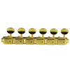 6 On A Plate Left Hand Deluxe Series Tuning Machines - Single Line - Gold With Oval Metal Buttons