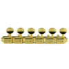6 On A Plate Left Hand Deluxe Series Tuning Machines - Double Line - Gold With Oval Metal Buttons