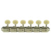 6 On A Plate Left Hand Deluxe Series Tuning Machines - Single Line - Nickel With Oval Plastic Buttons