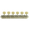 6 On A Plate Left Hand Deluxe Series Tuning Machines - Double Line - Nickel With Oval Plastic Buttons