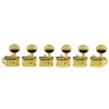 6 In Line Left Hand Deluxe Series Tuning Machines - Single Line - SafeTi Post - Gold With Oval Metal Buttons