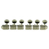 6 In Line Left Hand Deluxe Series Tuning Machines - Double Line - SafeTi Post - Nickel With Oval Metal Buttons