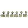 6 In Line Left Hand Deluxe Series Tuning Machines - Double Line - Drilled Post - Nickel With Oval Metal Buttons