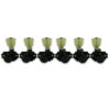 3 Per Side Locking Revolution Series G-Mount Non-Collared Tuning Machines Black With Plastic Keystone Button