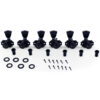 3 Per Side Locking Revolution Series G-Mount Tuning Machines Black With Metal Keystone Button