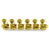 6 In Line Locking Revolution Series H-Mount Non-Collared Tuning Machines Gold